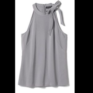 BANANA REPUBLIC Grey Tie Neck Bow Top Sz 8 - NWT!